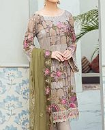Grey/Green Chiffon Suit- Pakistani Designer Chiffon Suit