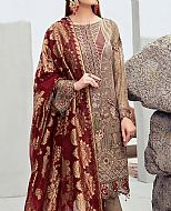 Bronze/Maroon Chiffon Suit- Pakistani Chiffon Dress