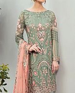 Pistachio/Peach Chiffon Suit- Pakistani Chiffon Dress