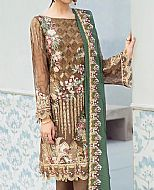 Brown/Green Chiffon Suit- Pakistani Designer Chiffon Suit