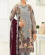 Grey/Plum Chiffon Suit- Pakistani Chiffon Dress