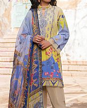 Yellow/Cornflower Lawn Suit- Pakistani Lawn Dress