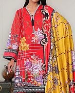 Red Khaddar Suit- Pakistani Winter Dress