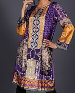 Purple/Yellow Silk Kurti- Pakistani Winter Dress
