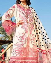 Off-white/Brink Pink Lawn Suit- Pakistani Designer Lawn Dress