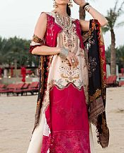 White/Crimson Lawn Suit- Pakistani Designer Lawn Dress