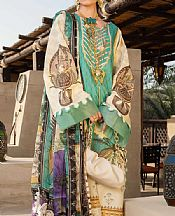 Sea Green/Off-white Lawn Suit- Pakistani Designer Lawn Dress