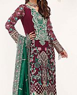 Maroon/Green Chiffon Suit- Pakistani Chiffon Dress