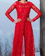 Red Net Suit- Pakistani Designer Chiffon Suit
