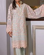 Peach/Sea Green Organza Suit- Pakistani Designer Chiffon Suit