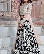 Peach/Black Net Suit- Pakistani Designer Chiffon Suit