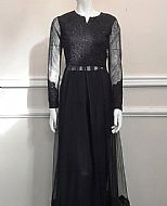 Black Net Suit- Pakistani Designer Chiffon Suit