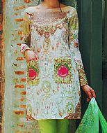 Off-white/Green Lawn Suit- Pakistani Lawn Dress