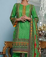 Green Cottel Suit- Pakistani Winter Dress