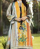 Off-White/Yellow Lawn Suit- Pakistani Designer Lawn Dress