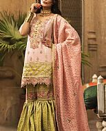 Peach/Green Masuri Cotton Net Suit- Pakistani Chiffon Dress