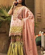 Peach/Green Masuri Cotton Net Suit- Pakistani Designer Chiffon Suit