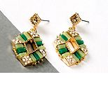 Women Earrings - Green/Golden