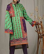 Green/Purple Cambric Kurti- Pakistani Winter Dress