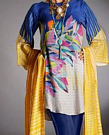 Blue/Yellow Silk Jacquard Suit- Pakistani Winter Dress