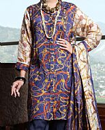 Indigo Viscose Silk Suit- Pakistani Winter Dress
