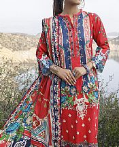 Red/Navy Blue Lawn Suit- Pakistani Designer Lawn Dress