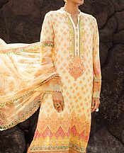 Off-white/Orange Lawn Suit- Pakistani Designer Lawn Dress