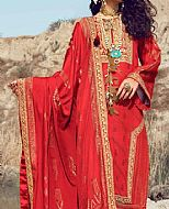 Red Jacquard Suit- Pakistani Chiffon Dress