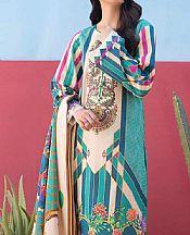 Ivory/Teal Lawn Suit (2 Pcs)- Pakistani Lawn Dress