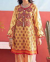 Light Golden Lawn Suit (2 Pcs)- Pakistani Designer Lawn Dress