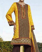 Golden Yellow/Dark Brown Lawn Suit- Pakistani Designer Lawn Dress