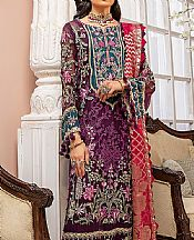 Egg Plant Chiffon Suit- Pakistani Designer Chiffon Suit