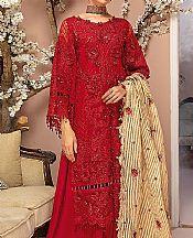 Red Organza Suit- Pakistani Chiffon Dress