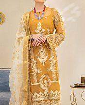 Mustard Organza Suit- Pakistani Chiffon Dress