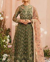 Olive Green Organza Suit- Pakistani Chiffon Dress