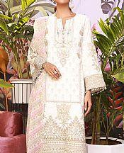 White Cotton Satin Suit- Pakistani Designer Chiffon Suit
