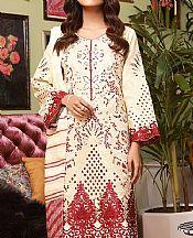 Off-white Cotton Satin Suit- Pakistani Chiffon Dress