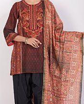 Maroon/Black Lawn Suit- Pakistani Designer Lawn Dress