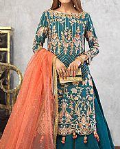 Teal Blue Cotton Net Suit- Pakistani Designer Chiffon Suit