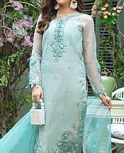 Light Turquoise Organza Suit- Pakistani Designer Chiffon Suit