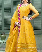 Gold Yellow Organza Suit- Pakistani Chiffon Dress