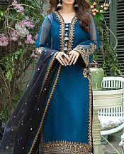 Denim Blue Organza Suit- Pakistani Designer Chiffon Suit