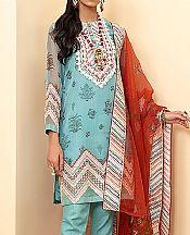 Light Turquoise Organza Suit- Pakistani Chiffon Dress