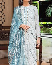 White/Baby Blue Net Suit- Pakistani Designer Chiffon Suit