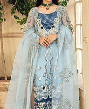 Sky Blue Organza Suit- Pakistani Chiffon Dress