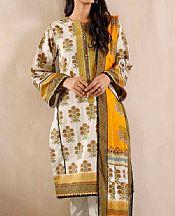 Ivory/Olive Cambric Suit- Pakistani Designer Lawn Dress