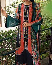 Coral/Black Lawn Suit- Pakistani Designer Lawn Dress
