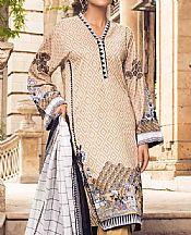 Tan Lawn Suit (2 Pcs)- Pakistani Designer Lawn Dress