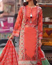 Tomato Red Lawn Suit- Pakistani Lawn Dress