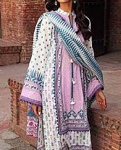 White/Mauve Lawn Suit- Pakistani Lawn Dress